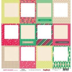 "Двустранен дизайнерски картон 12"" х 12"", 180гр. - Double-sided paper 12""*12"" Happy Holiday Frames ENG 180gsm 1 sheet"