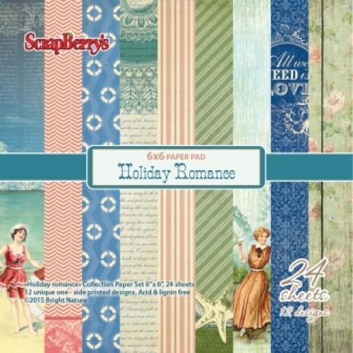 """Дизайнерско блокче - Paper set 6""""*6""""  Holiday Romance 170 gsm (24 sheets/set)"""