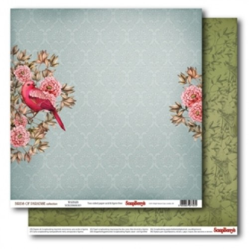 "Двустранен дизайнерски картон 12"" х 12"", 180гр. - Double-Sided Paper (12*12 – 180gsm) Birds of Paradise – Warble"