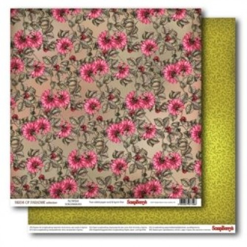 "Двустранен дизайнерски картон 12"" х 12"", 180гр. - Double-Sided Paper (12*12 – 180gsm) Birds of Paradise – Flowers"