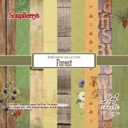 """Дизайнерско блокче 6"""" х 6"""" - Paper set 6""""*6""""  Forest 170 gsm (24 sheets/set)"""