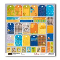 "Едностранен дизайнерски лист 12"" х 12"" - 180гр. - One-sided paper 12""*12"" 190 gsm Basik's New Adventure Tags"