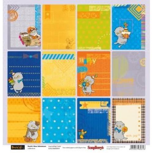 "Едностранен дизайнерски лист 12"" х 12"" - 180гр. - One-sided paper 12""*12"" 190 gsm Basik's New Adventure Journaling Cards"