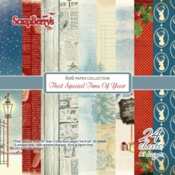 "Дизайнерско блокче 6"" х 6"" - Paper set 6""*6""  That Special Time Of The Year 170 gsm (24 sheets/set)"