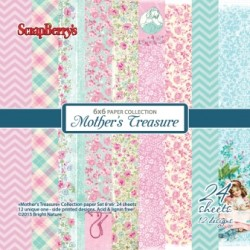 "Дизайнерско блокче 6"" х 6"" - Paper set 6""*6""  Mother's Treasure 170 gsm (24 sheets/set)"