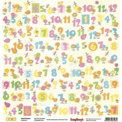 "Двустранна дизайнерска хартия - Double-sided paper 12""*12"" Sweet Dreams My First Numbers 190gsm"