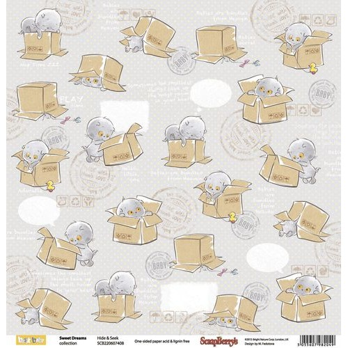 "Едностранен дизайнерски картон - One-sided paper 12""*12"" Sweet Dreams Hide & Seek 190gsm"