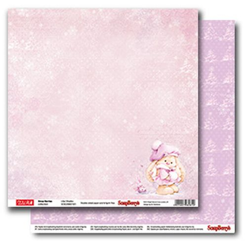 "Двустранен дизайнерски лист - Double-sided paper 12""*12"" 190gsm, Xmas Berries Lilac Shades"
