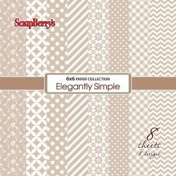 "8 бр. дизайнерски листи 6"" х 6"" - Paper Collection Set (6*6 - 190gsm) Elegantly Simple - Iced Coffee (8 Sheet Set)"