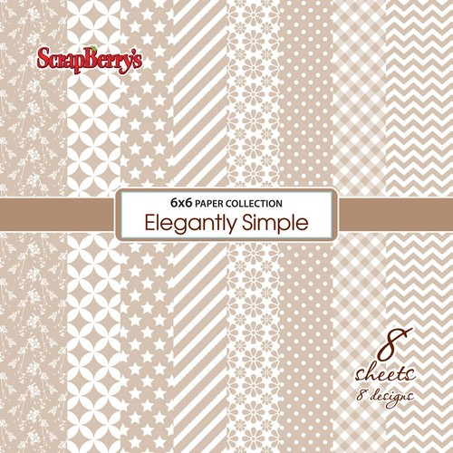 "8 бр. дизайнерски листи 6"" х 6"" - Paper Collection Set (6*6 - 190gsm) Elegantly Simple - Iced Coffee (8 Sheet Set)"