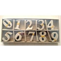 Комплект цифри от папие маше 0-9, 4см, по 10броя от цифра - Papier-Mache Numbers 0-9 (Box 9x22cm, Numbers – 4cm) (10 Piece per Number Set)