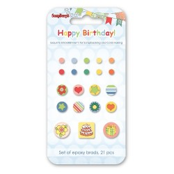 Брадс 21бр. - Epoxy Brads set 21 pcs Happy Birthday