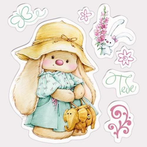 Силиконов печат зайче - Set of stamps 10,5*10,5cm Bunny in Panama hat, Summer Joy
