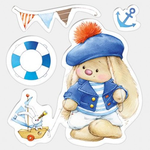 Силиконов печат зайче - Set of stamps 10,5*10,5cm Bunny - Sailor, Summer Joy