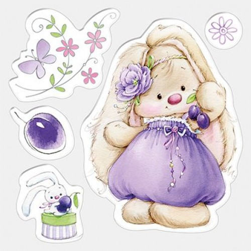 Силиконов печат зайче - Set of stamps 10,5*10,5cm Bunny and plums, Summer Joy
