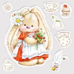 Силиконов печат зайче - Set of stamps 10,5*10,5cm Strawberry Bunny, Summer Joy