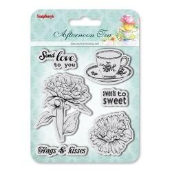 "К-т от печати ""Цветя, чашка за кафе, прегръдки и целувки"" - Set of Clear  Stamps (10,5*10,5cm) Afternoon Tea - Sweets to Sweet"