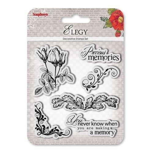 """К-т от печати """"Рози, орнаменти, флорално ъгълче, надписи"""" - Set of Clear  Stamps (10,5*10,5cm) Elegy - Precious memories"""