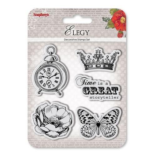 "К-т от печати ""Пеперуда, корона, часовник, цвете"" - Set of Clear  Stamps (10,5*10,5cm) Elegy – Storyteller"