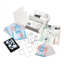 Комплект машина за рязане и релеф - Sizzix - Big Shot Plus Starter Kit  (White & Gray)