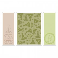 Ембосинг папка - Sizzix Textured Impressions Embossing Folders 3PK - Birthday Set #5