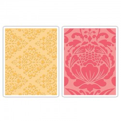 Eмбосинг папка - Sizzix Textured Impressions Embossing Folders 2PK - Baroque & Flowertopia Set