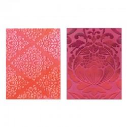 Eмбосинг папка - Sizzix Textured Impressions Embossing Folders 2PK - Baroque & Flowertopia Set