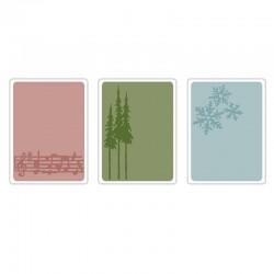 Eмбосинг папка - Sizzix Texture Trades Embossing Folders 3PK - Seasonal Stuff Set