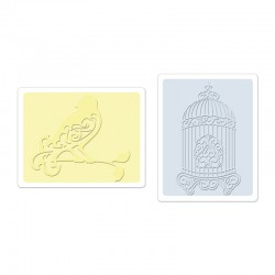 Ембосинг папка - Sizzix Textured Impressions Embossing Folders 2PK - Bird & Birdcage Set