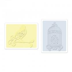 Ембосинг папка - Sizzix Textured Impressions Embossing Folders 2PK - Bird & Birdcage Set