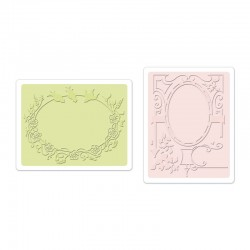 Ембосинг папка - Sizzix Textured Impressions Embossing Folders 2PK - Birds & Garden Gate Set