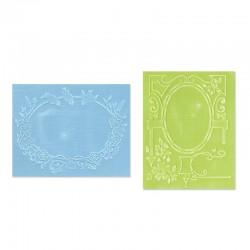 Ембосинг папка - Sizzix Textured Impressions Embossing Folders 2PK - Birds & Garden Gate Set