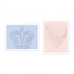 Ембосинг папка - Sizzix Textured Impressions Embossing Folders 2PK - Crown & Heart Set