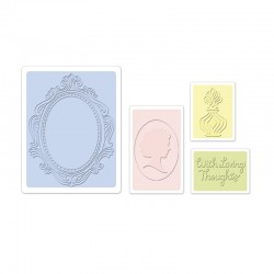 Ембосинг папка - Sizzix Textured Impressions Embossing Folders 4PK - Loving Thoughts Set