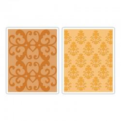Ембосинг папка - Sizzix Textured Impressions Embossing Folders 2PK - Luxurious Set