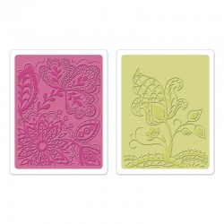 Ембосинг папка - Sizzix Textured Impressions Embossing Folders 2PK - Groovy Flowers Set