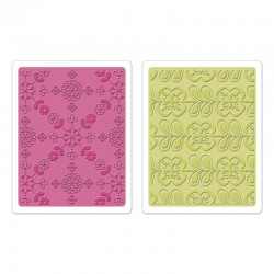 Ембосинг папка - Sizzix Textured Impressions Embossing Folders 2PK - Kaleidoscope Blooms Set