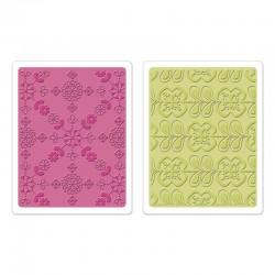 Ембосинг папка - Sizzix Textured Impressions Embossing Folders 2PK - Kaleidoscope Blooms Set