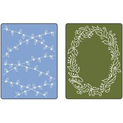 Eмбосинг папка - Sizzix Embossing Folders - Christmas Lights and Holly Set