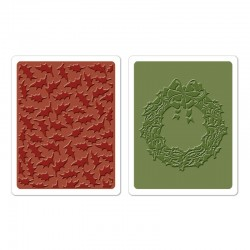 Ембосинг папка - Sizzix Texture Fades Embossing Folders 2PK - Holly Pattern & Wreath Set