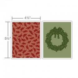 Ембосинг папка - Sizzix Texture Fades Embossing Folders 2PK - Holly Pattern & Wreath Set