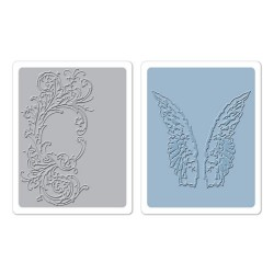 Ембосинг папка - Sizzix Texture Fades Embossing Folders 2PK - Flourish & Wings Set by Tim Holtz