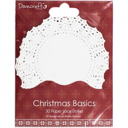 Бели чаени салфетки - 30бр. - Christmas Basics Paper Lace Doilies - Pack Of 30