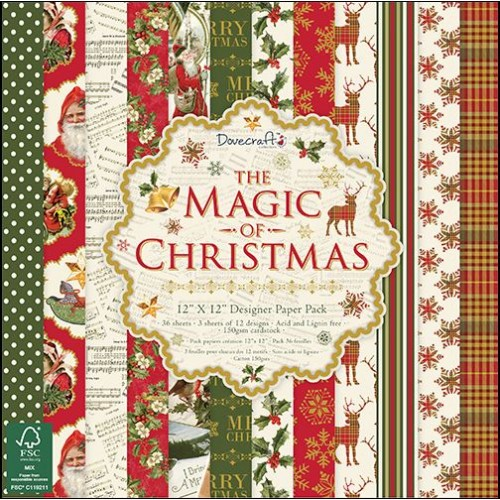 "Дизайнерско блокче 12"" х 12"" - Dovecraft The Magic of Christmas FSC 12x12 Paper Pack"