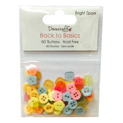 Мини копчета - Dovecraft Back to Basics - Bright Spark Plastic Buttons