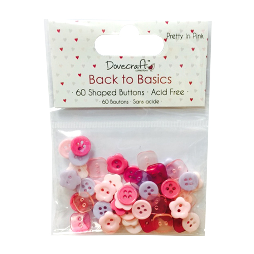 Мини копчета - Dovecraft Back to Basics - Pretty In Pink Plastic Buttons