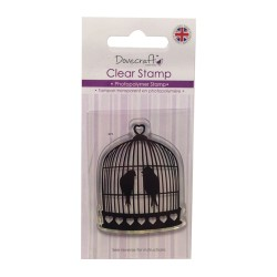 Силиконов печат - птички в кафез - Dovecraft Photopolymer Clear Stamp - Birdcage