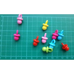 Пластмасови биберони - свежи цветове - микс - 20бр., 2.2 х 1.2см