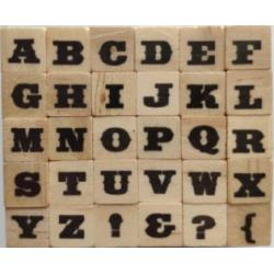 Мини гумени печатчета на дървено кубче - латинска азбука - Dovecraft - Alphabet 4