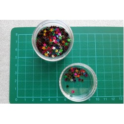 Контейнерче с пайети - разноцветни огледални звезди микс